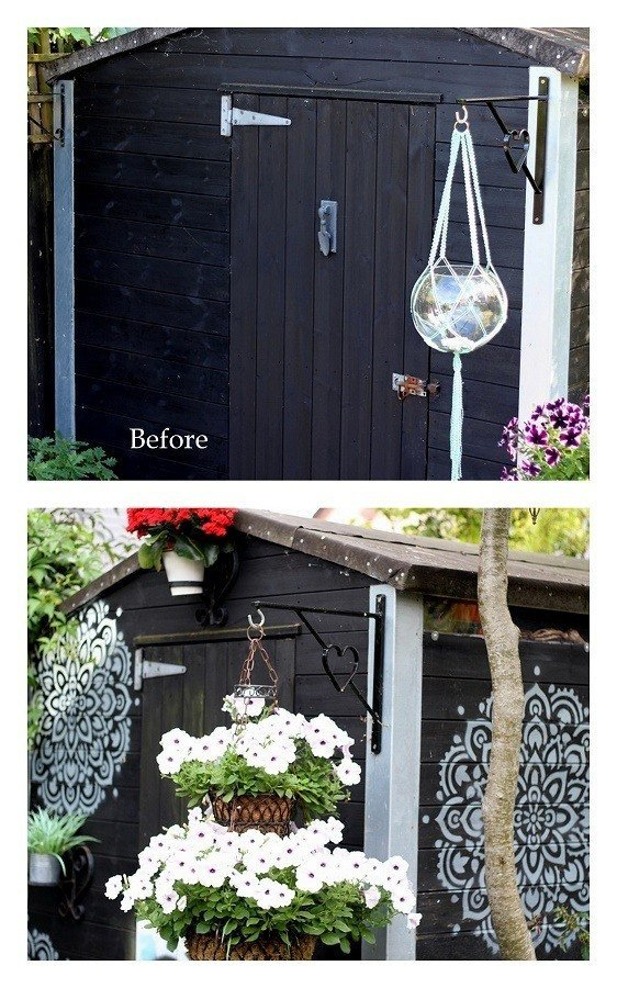 before and after We Stenciled The Shed & The Garden table