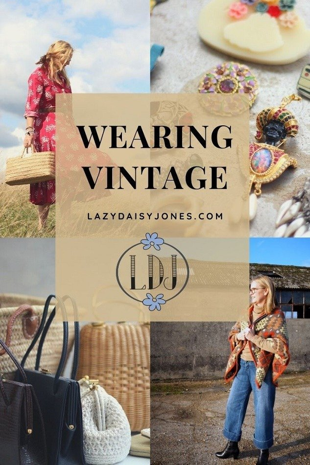Wearing vintage clothes and accessories from lazy daisy jones blog