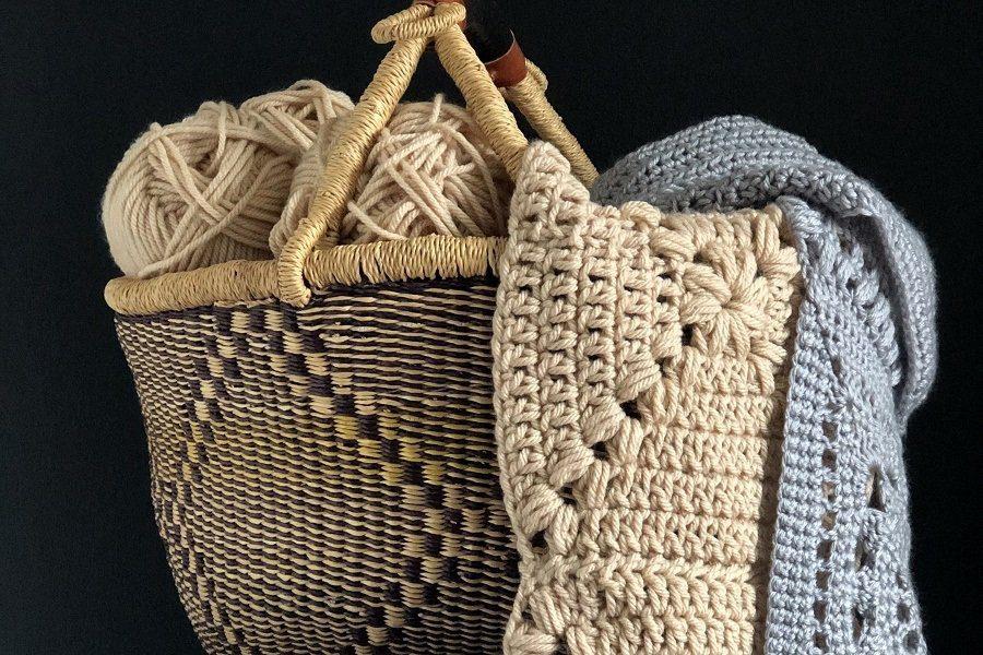 basket of yarn and crochet blankets!