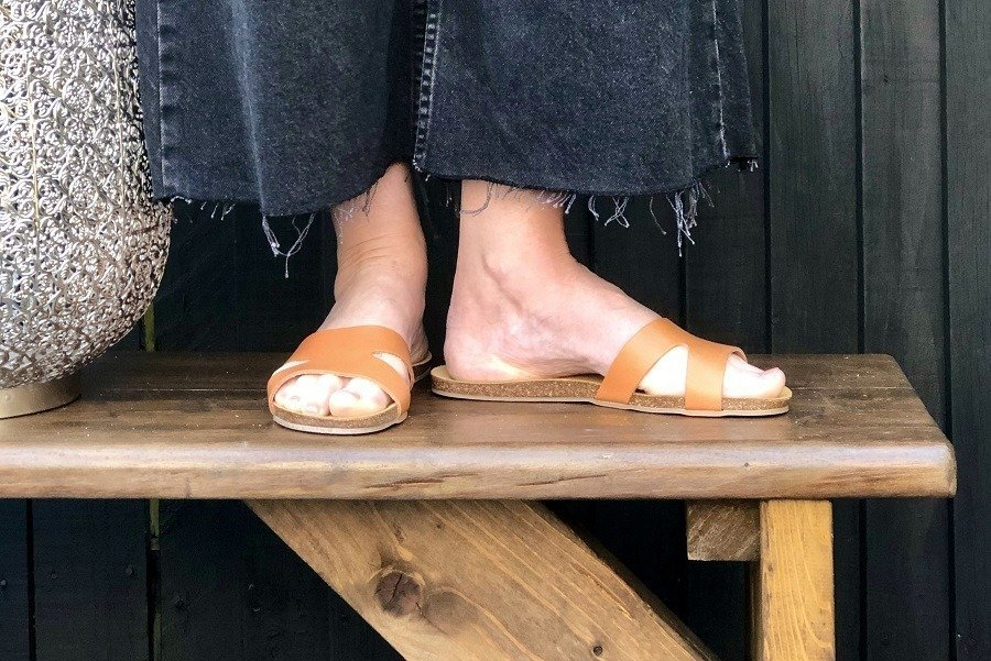 bear paw leather flat sandals