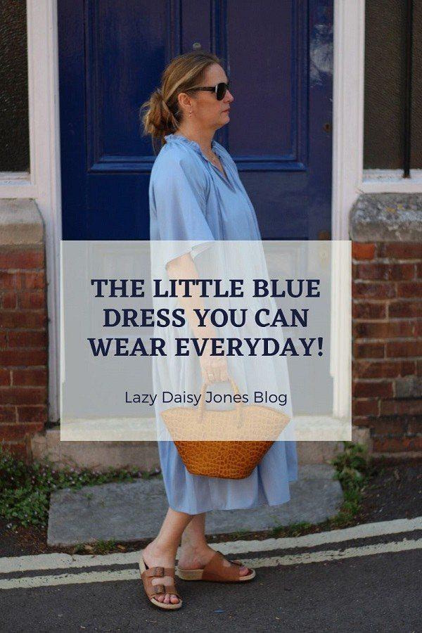 pinterest graphic lazy daisy jones wearing arket blue dress