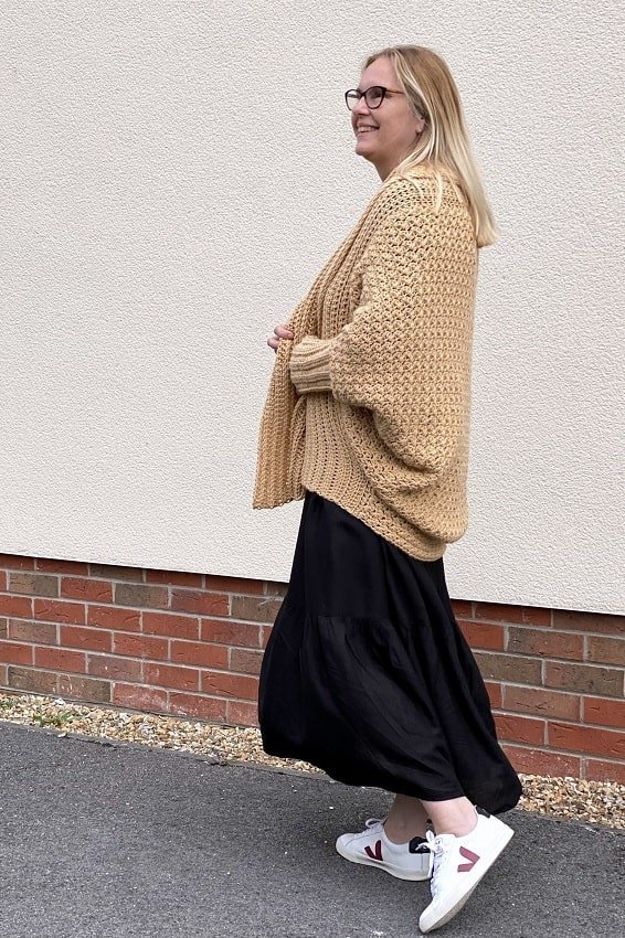 lazy daisy jones wearing Habitat crochet cardigan