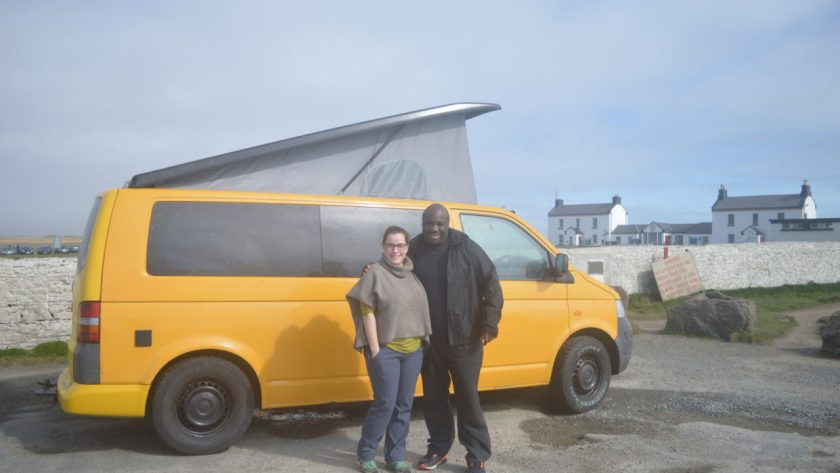 Me and Kate in front of our camper van