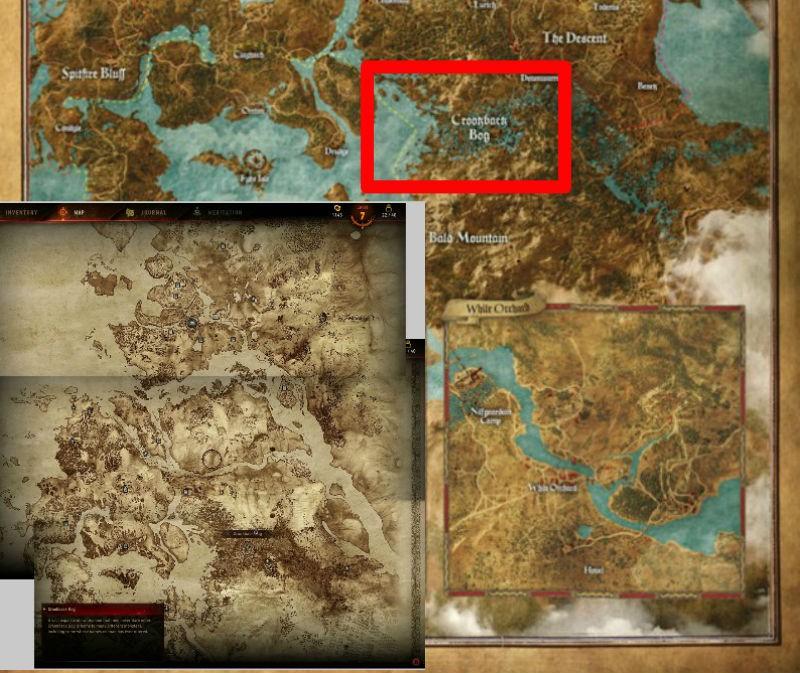 Witcher 3 world map crookback bog