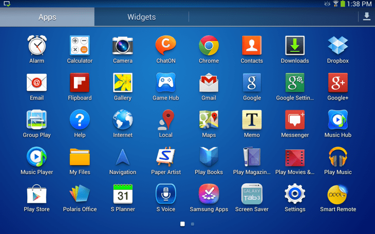 Samsung Galaxy Tab 3 apps