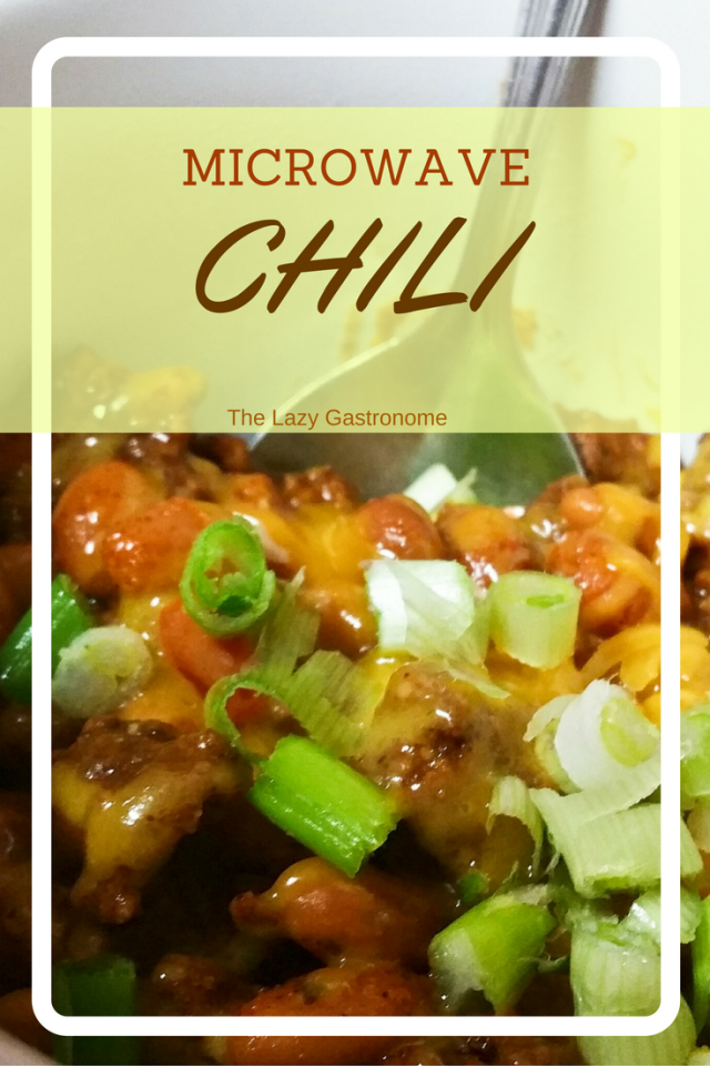 Microwave Chili - A quick week night chili that celebrates National Microwave Day!  From the Lazy Gastronome