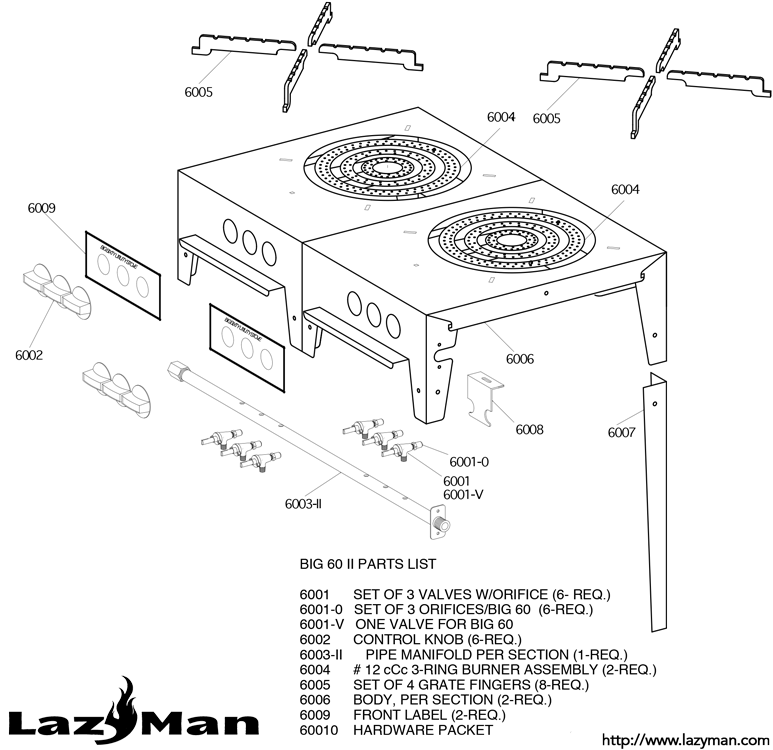 Parts Lists for built-in and freestanding grills » LazyMan