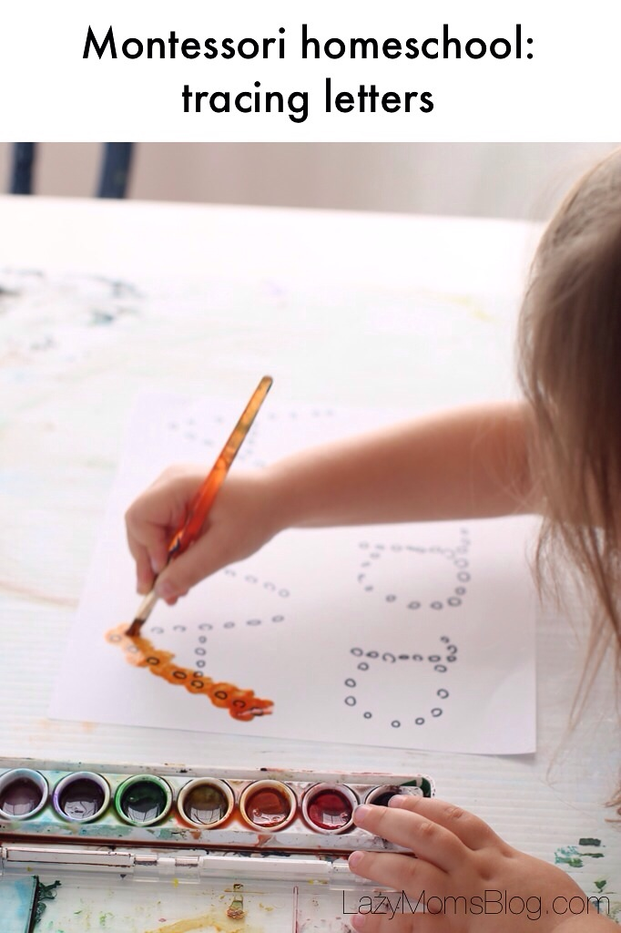 These Montessori inspired homeschooling activities teach your child about letters and their shapes, using simply paint, brush and paper. #preschool #homeschool