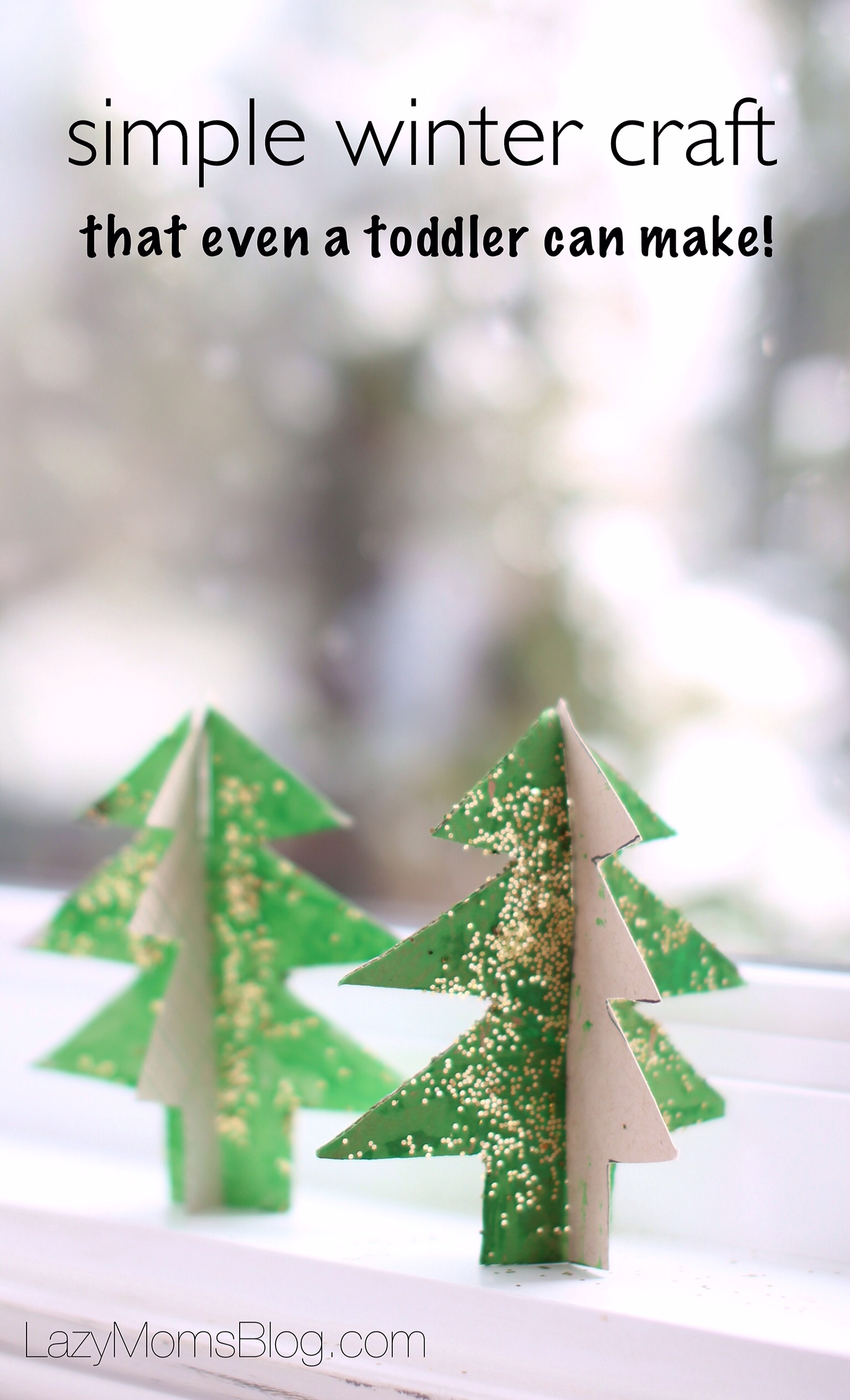 Easy Winter Kids Crafts That Anyone Can Make: Recycled Cardboard Christmas Tree: Easy Winter Craft