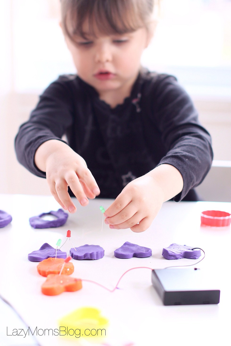 This lit lets you experiment with light and sound while playing play dough! Great educative toy!