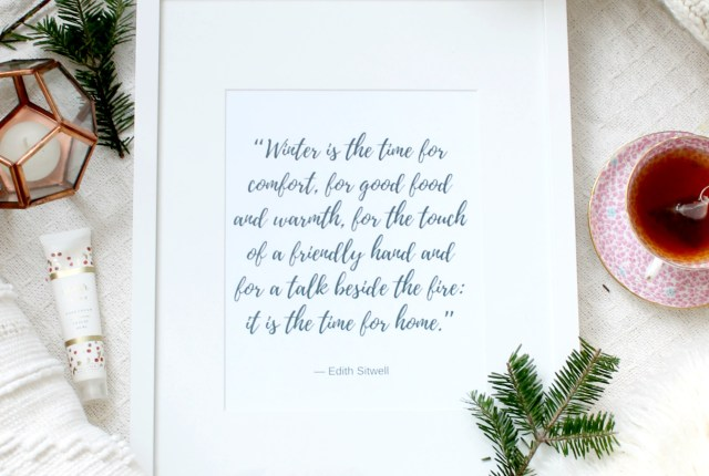 free winter prints to print at home, free calligraphy quote printable, winter printable