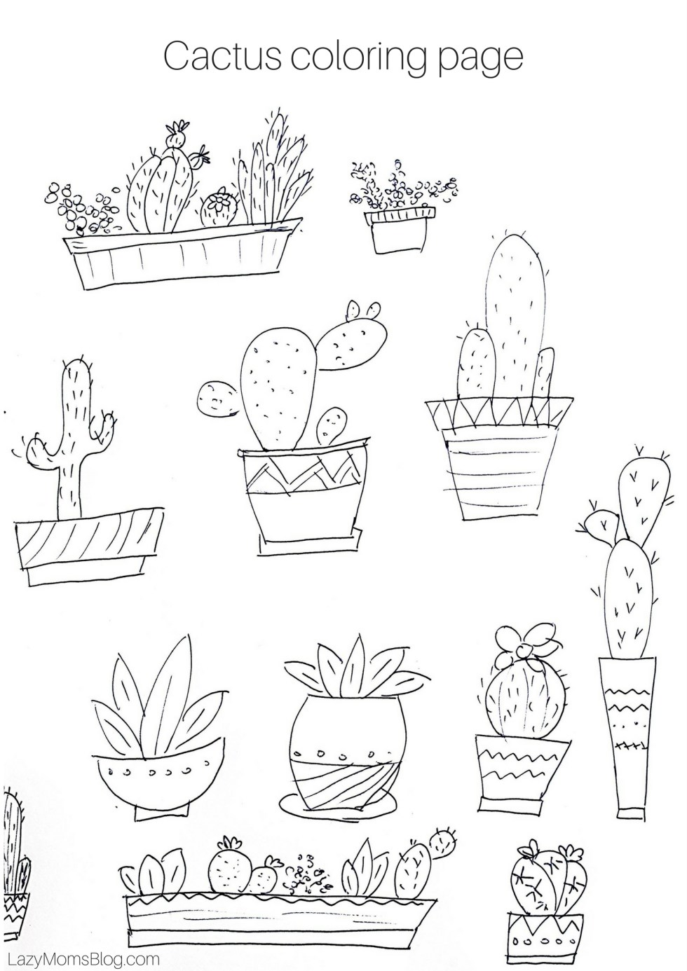 free printable Cactus coloring page