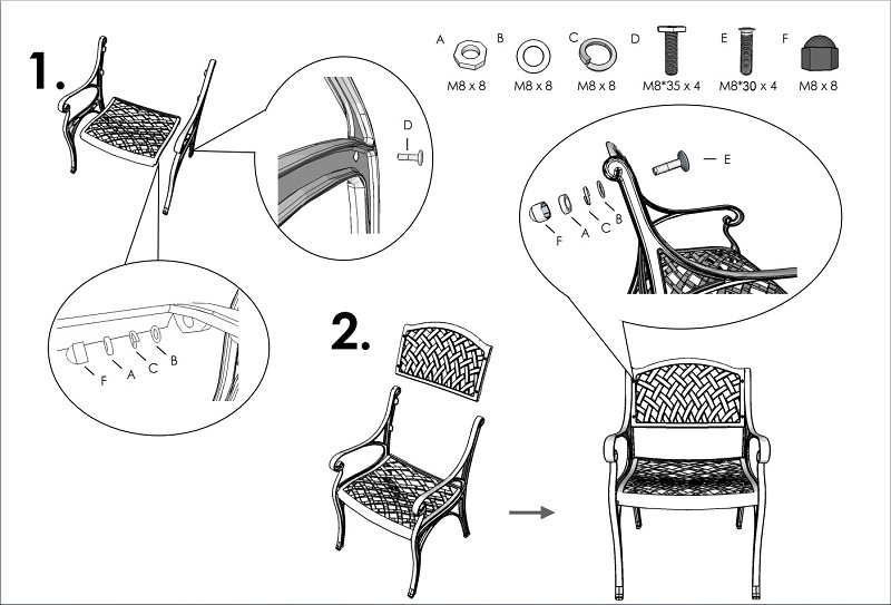 Instructions d'assemblage Chaise Kate