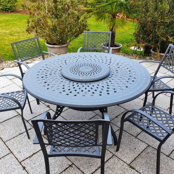 amelia slate 6 seater set 150cm round cast aluminium garden furniture set