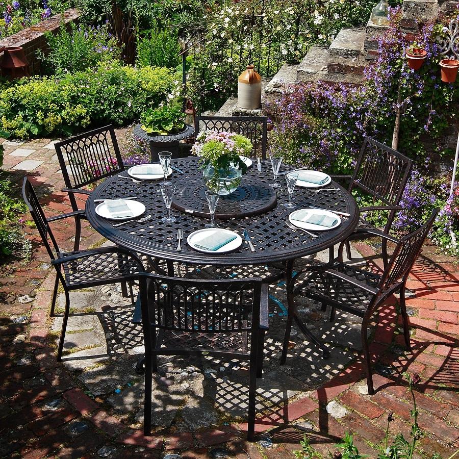 valerie table antique bronze 6 seater set