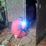 Welding some angle on the door