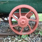 Close-up of wagon wheel