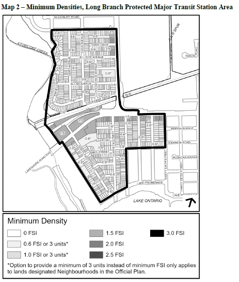 Excerpt from City Planning document proposing intensification targets., This excerpt is for Long Branch.