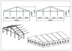 schéma chapiteaux de réception 20, 21 mètres