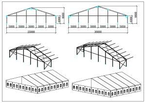 schéma chapiteaux de réception 25, 30 mètres