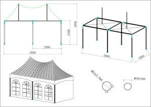 schéma tente de réception 3x6m