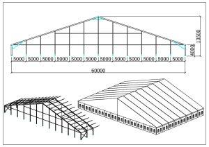 schéma chapiteaux de réception 60 mètres