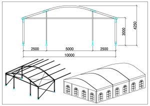 schéma chapiteaux dôme 10m