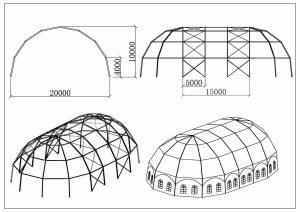 schéma chapiteaux grand dôme 20 mètres