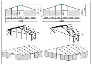 schéma chapiteaux entrepôt 25, 30 mètres