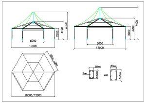 schéma tente polygone 10m 12m