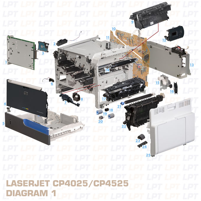 Parts Diagram 1 For Laserjet Cp Cp Printers