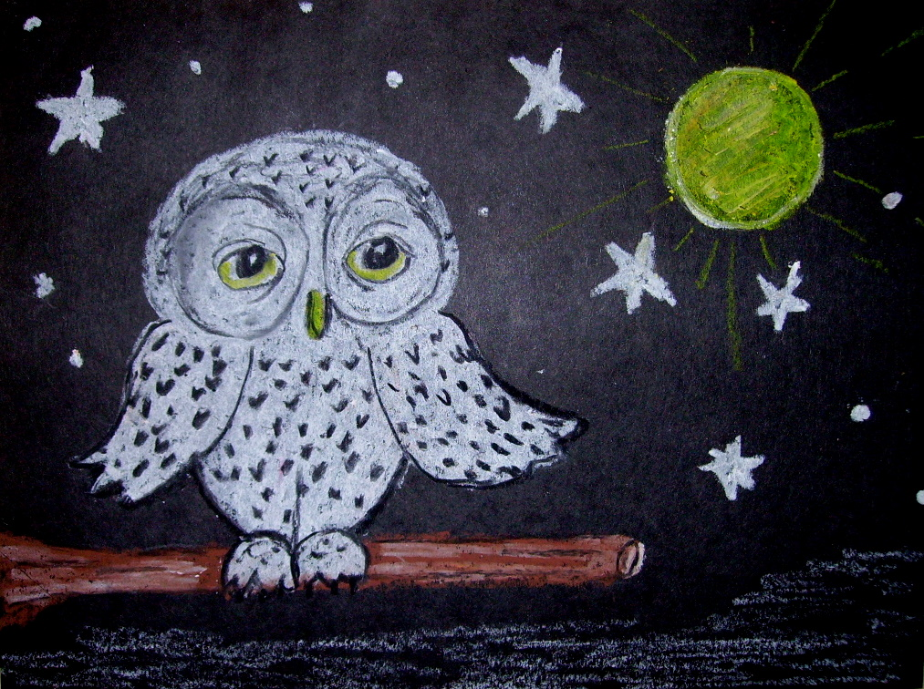 little snowy owl kids glitter