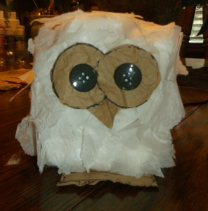 hootie owls-glue eyes, beak and feet on owl