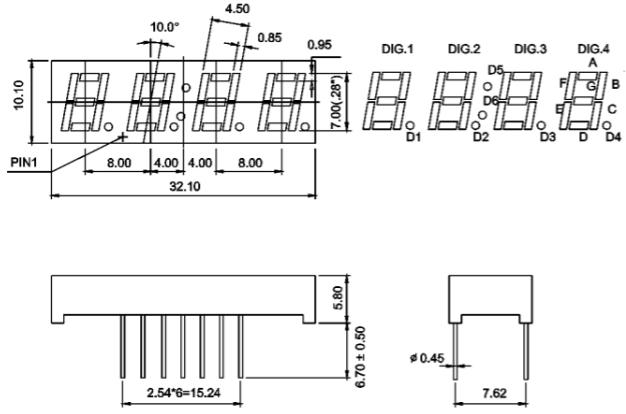 7 Segment Four Digit Green 0.28 Inch (7.0mm) LED Display