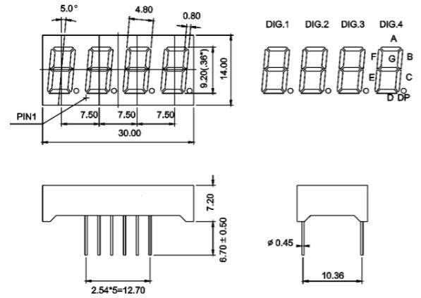 7 Segment Four Digit Green 0.36 Inch (9.14mm) LED Display