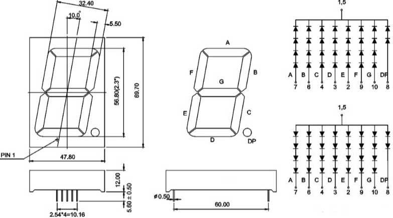 7 Segment White 2.3 Inch (57mm) Single Digit LED Specs