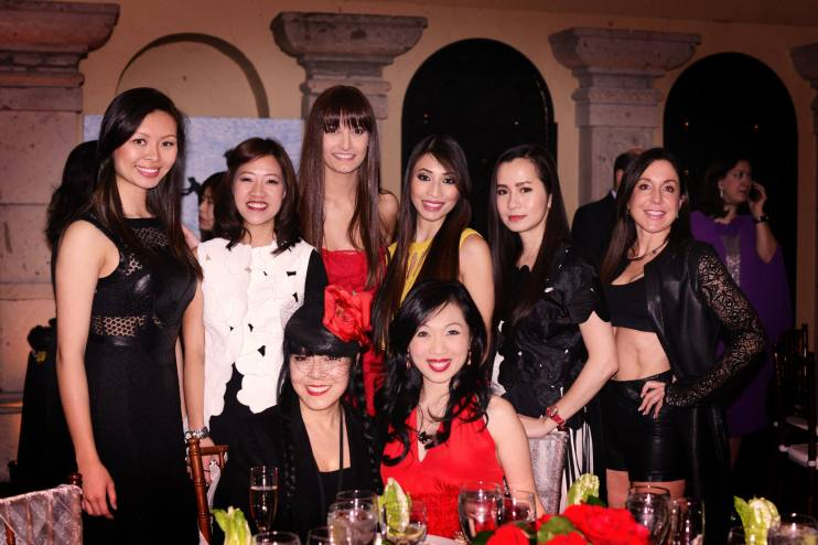 Designer Gemma Kahng with Connie Wong and the models showcasing her outfits