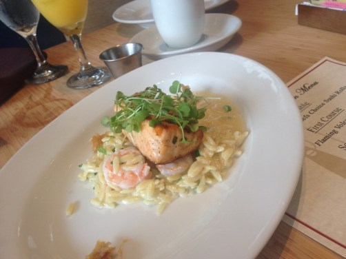 Grilled Salmon with Shrimp and Brie Orzo Lemon Confit