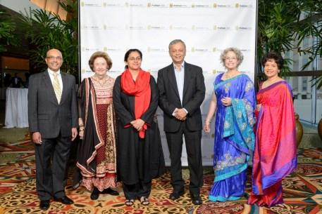 Vijay Goradia, Founder of Pratham USA, Harriet Latimer, Gala Co-Chair, Dr. Rukmini Banerji, Director Pratham ASER Centre, Dr. Madhav Chavan, Founder Pratham, Lillie Robertson, Gala Co-Chair, Dr. Marie Goradia, President Pratham Houston