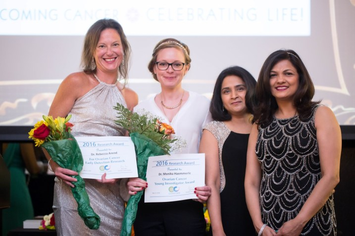 Ovarcome research award recipients Dr. Rebecca Arend, Dr. Monika Haemmerle, with Board Members Dr. Priya Bhosale, Dr. Aparna Kamat