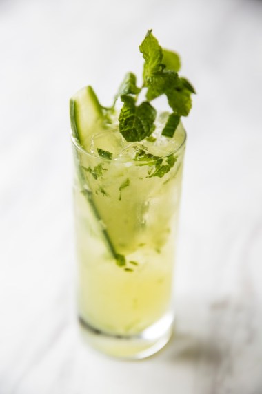 Cucumber Grapefruit Mojito - Bacardi, Combier Pamplemousse, Cucumbers, Simple Syrup, Mint
