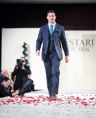 Houston Texan Brian Peters on the runway at Festari for Men Una Notte In Italia
