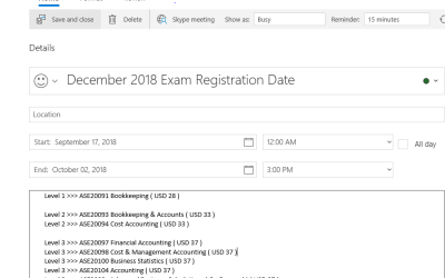 LCCI December 2018 Exam Registration Date