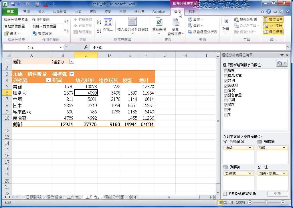 excel 2010 使用樞紐分析圖 - 聯成數位學苑.教學