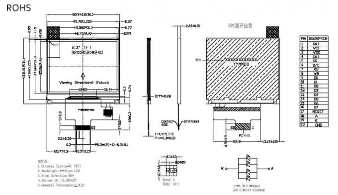 VGA RGB Interface 320 X 240 LCD Module 2.31 Inch SPI MCU