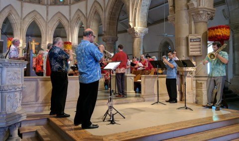 The brass quartet and mass choir at the Reformation 500 Ecumenical Service