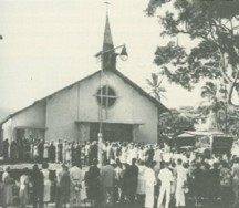 Dedication of the current church building in 1953.