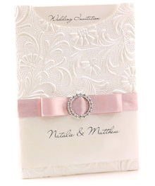 Pink invitation with lace