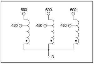 BUCK TRANSFORMER, 75 KVA, INPUT 600 VAC, OUTPUT 480 VAC, P
