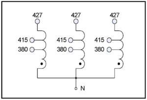 BUCK TRANSFORMER, 75 KVA, INPUT 415/427 VAC, OUTPUT 380